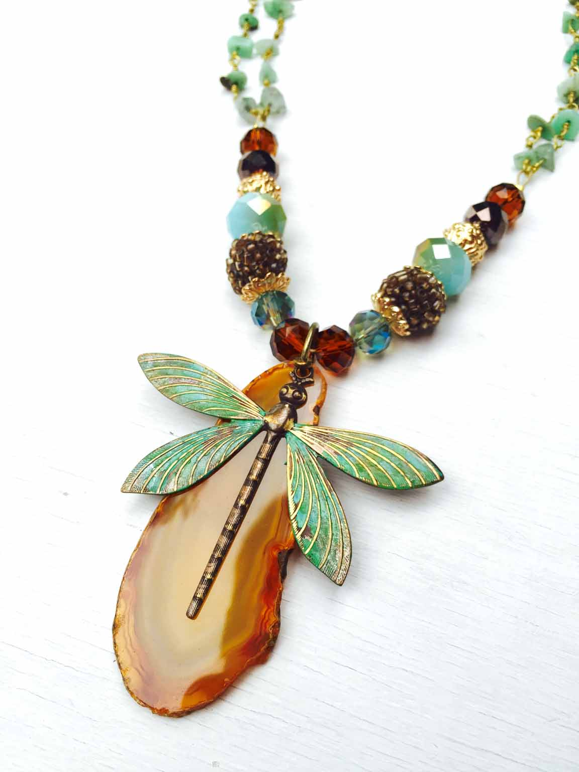 An image of Candie's Painted Patina Dragonfly Necklace.