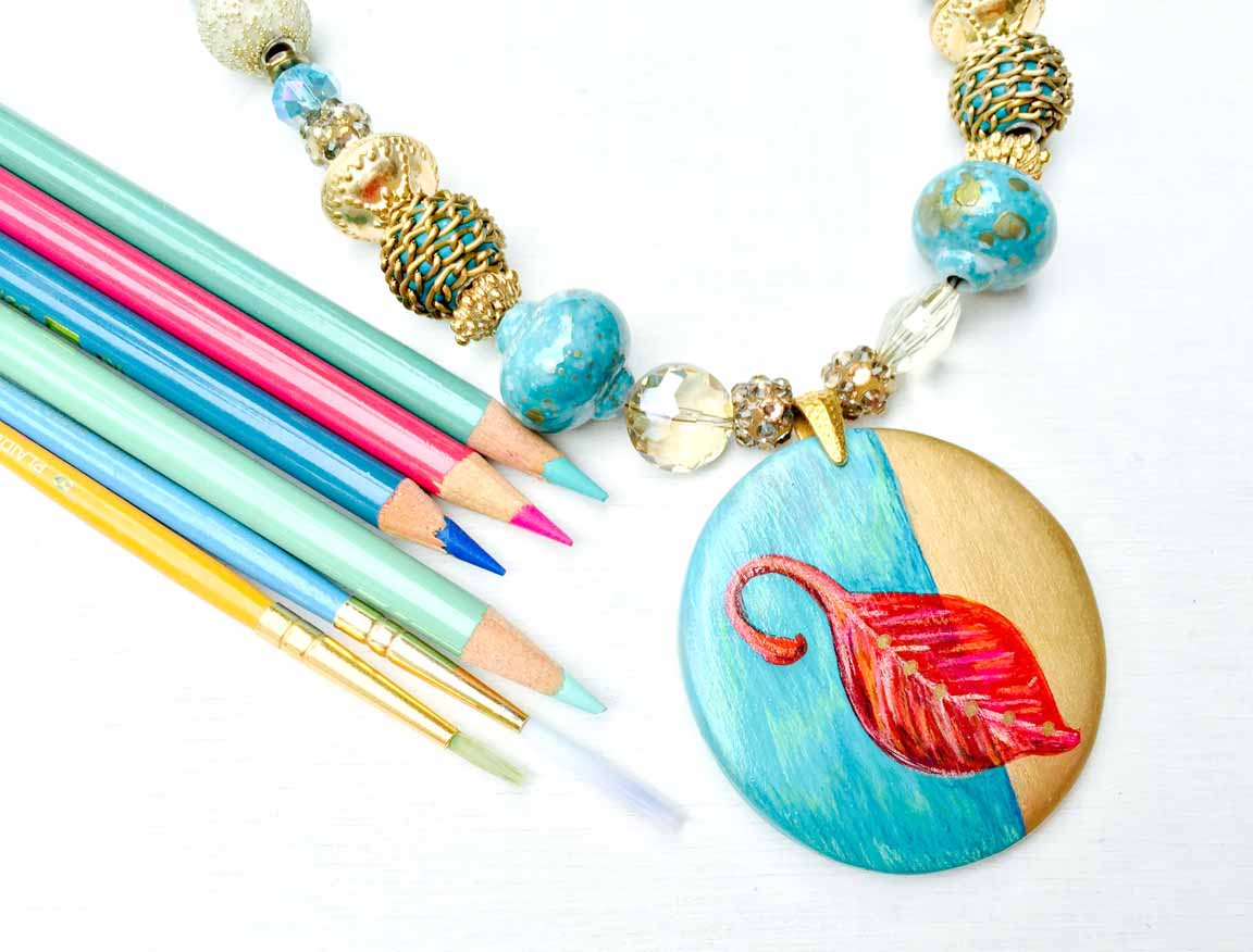 An image of Candie's beautiful Doodle a Pendant with Paint and Pencil.